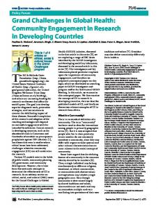 Grand Challenges in Global Health: Community ... - CiteSeerX