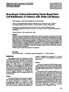 Granulocyte Colony-Stimulating Factor-Based Stem Cell Mobilization ...