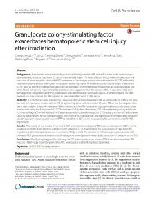 Granulocyte colony-stimulating factor exacerbates hematopoietic stem ...