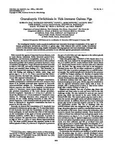 Granulocytic Ehrlichiosis in Tick-Immune Guinea Pigs - Infection and ...