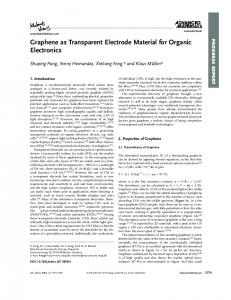 Graphene as Transparent Electrode Material for ... - Wiley Online Library