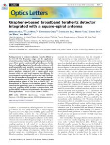 Graphene-based broadband terahertz detector ... - OSA Publishing