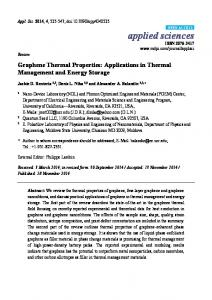 Graphene Thermal Properties: Applications in Thermal Management ...