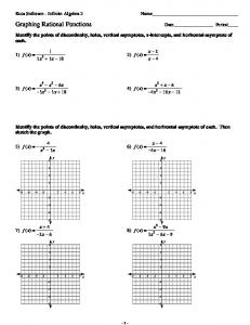 Worksheet on Rational Functions Steps for graphing rational ...