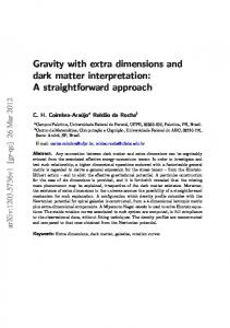 Gravity with extra dimensions and dark matter interpretation - arXiv