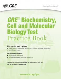 GRE Biochemistry, Cell and Molecular Biology Test Practice Book