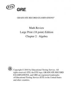 GRE Math Review 2 Algebra 18 point