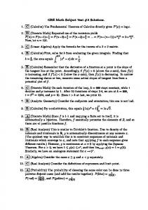 GRE Math Subject Test #2 Solutions. 1. C (Calculus) The ...