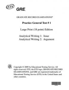 GRE Practice Test 1 Writing 18 point - ETS