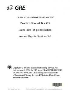 GRE Practice Test 3 Answers 18 point