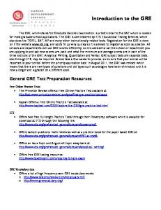 GRE Test Preparation Resources