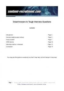 Great answers to tough interview questions File - iLearn