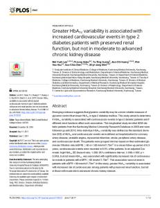 Greater HbA1c variability is associated with increased ... - PLOS