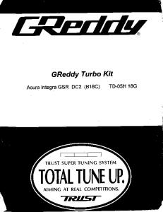 Greddy Turbo Kit Installation Instructions