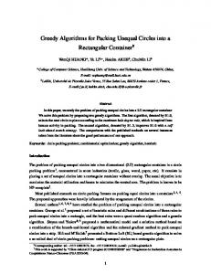 Greedy Algorithms for Packing Unequal Circles into a ... - CiteSeerX