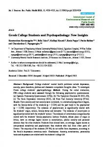 Greek College Students and Psychopathology - Semantic Scholar