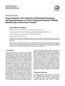 Green Chemistry: New Synthesis of Substituted Chromenes and