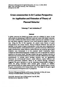 Green consumerism in Sri Lankan Perspective: An ... - SCIENPRESS Ltd