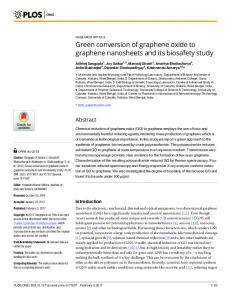 Green conversion of graphene oxide to graphene nanosheets and its