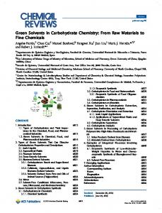 Green Solvents in Carbohydrate Chemistry: From ... - ACS Publications