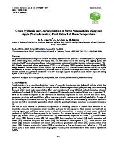 Green Synthesis and Characterization of Silver Nanoparticles Using