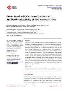 Green Synthesis, Characterization and Antibacterial