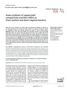 Green synthesis of capped gold nanoparticles and