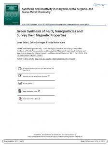 Green Synthesis of Fe3O4 Nanoparticles and Survey their Magnetic