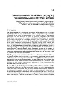 Green Synthesis of Noble Metal (Au, Ag, Pt) Nanoparticles ... - InTech