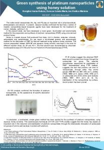 Green synthesis of platinum nanoparticles using honey solution