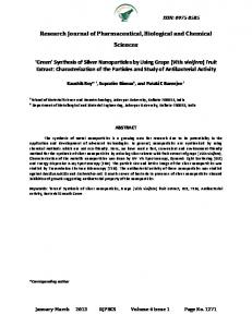 'GREEN' SYNTHESIS OF SILVER NANOPARTICLES BY ... - RJPBCS