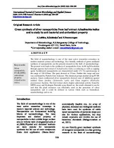 Green synthesis of silver nanoparticles from leaf extract Azhadirachta ...