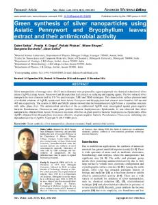 Green synthesis of silver nanoparticles using Asiatic Pennywort and