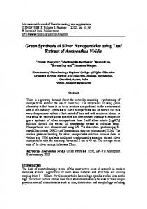 Green Synthesis of Silver Nanoparticles using Leaf ...