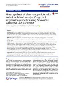 Green synthesis of silver nanoparticles with antimicrobial and azo dye ...