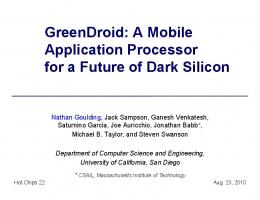 GreenDroid - University of California San Diego