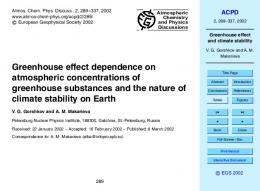 Greenhouse effect and climate stability - ACPD