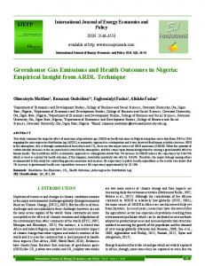 Greenhouse Gas Emissions and Health ... - Covenant University