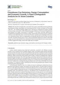 Greenhouse Gas Emissions, Energy Consumption and ... - MDPI