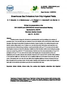 Greenhouse Gas Emissions from Drip Irrigated Fields