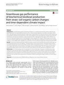 Greenhouse gas performance of biochemical ... - Semantic Scholar