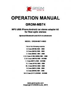 grom mst4 for mercedes benz fiber optic usage manual pdf
