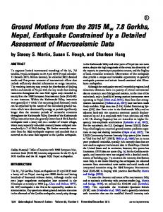 Ground Motions from the 2015 Mw 7.8 Gorkha, Nepal, Earthquake ...