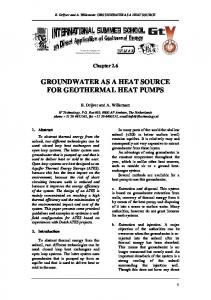 groundwater as a heat source for geothermal heat pumps