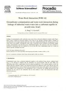 Groundwater Contamination and Water-Rock ...