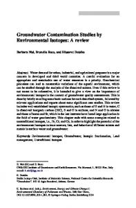 Groundwater Contamination Studies by