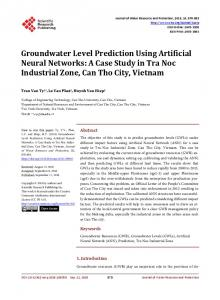 Groundwater Level Prediction Using Artificial Neural Networks: A