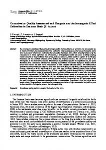 Groundwater Quality Assessment and Geogenic and Anthropogenic