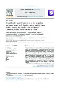 Groundwater quality assessment for irrigation ...