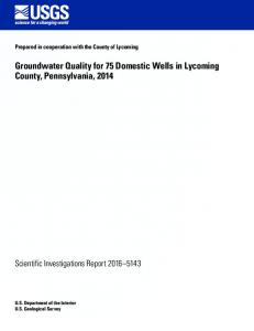 Groundwater Quality for 75 Domestic Wells in